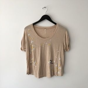 Free People Embroidered Scoop Neck T Shirt
